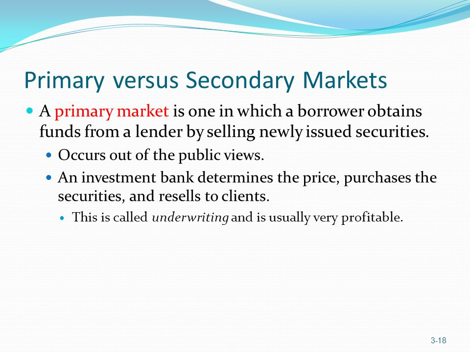 Primary versus Secondary Markets