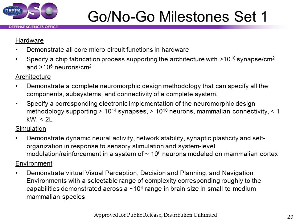 Go/No-Go Milestones Set 1