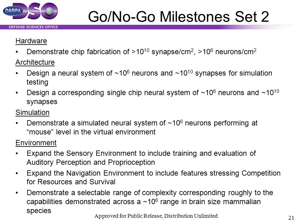Go/No-Go Milestones Set 2