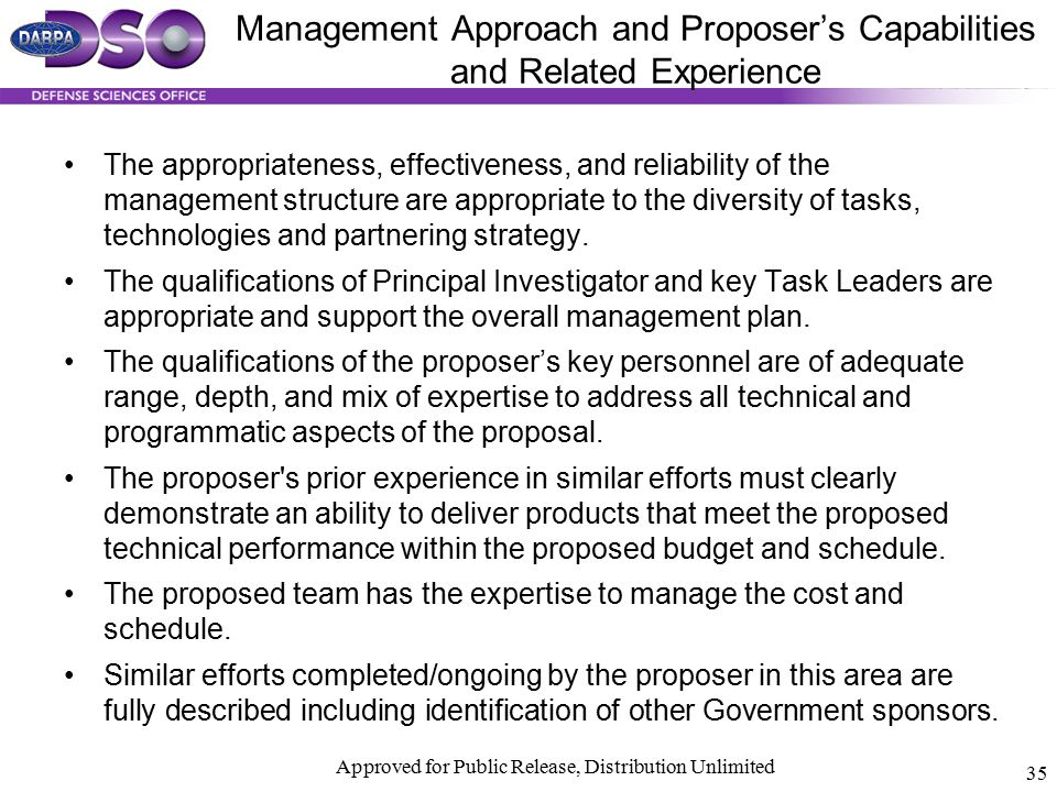 Management Approach and Proposer's Capabilities and Related Experience