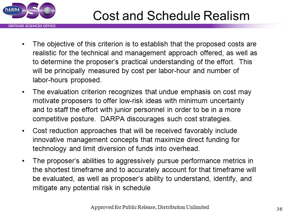 Cost and Schedule Realism