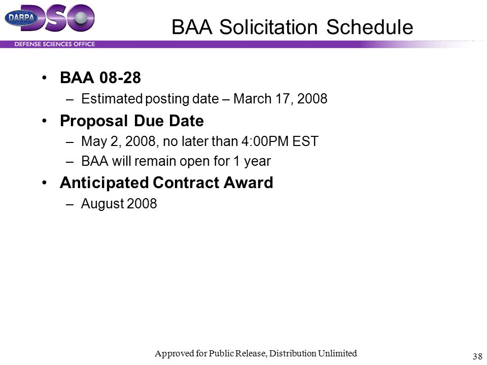 BAA Solicitation Schedule