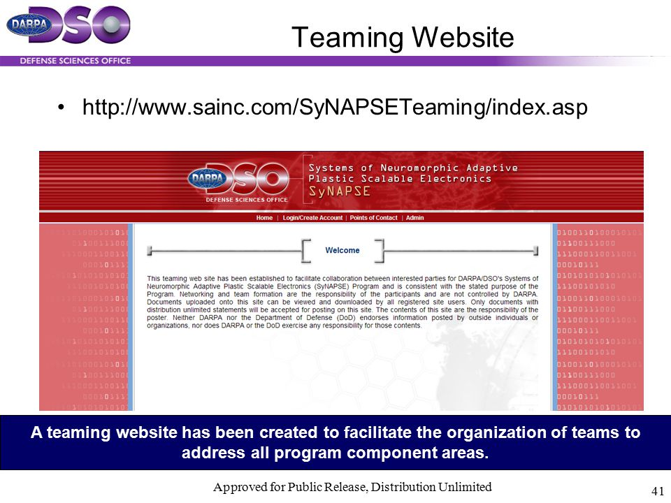Teaming Website http://www.sainc.com/SyNAPSETeaming/index.asp