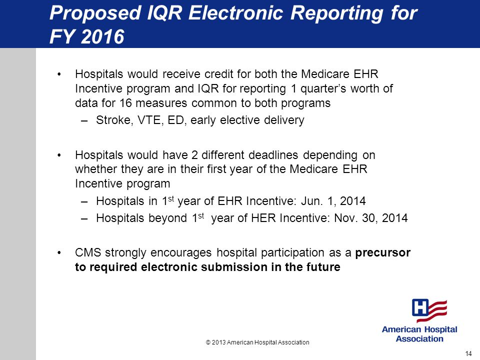 Proposed IQR Electronic Reporting for FY 2016