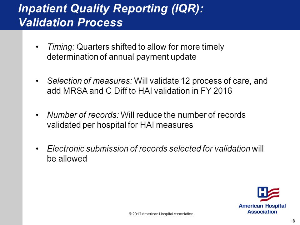 Inpatient Quality Reporting (IQR): Validation Process