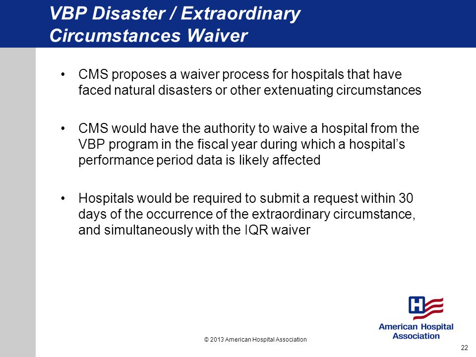 VBP Disaster / Extraordinary Circumstances Waiver