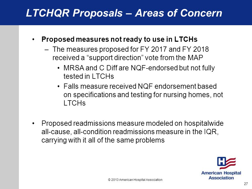 LTCHQR Proposals – Areas of Concern