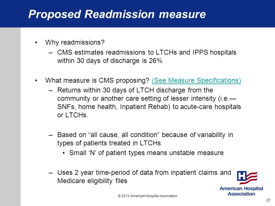 Proposed Readmission measure
