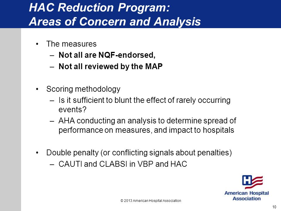 HAC Reduction Program: Areas of Concern and Analysis
