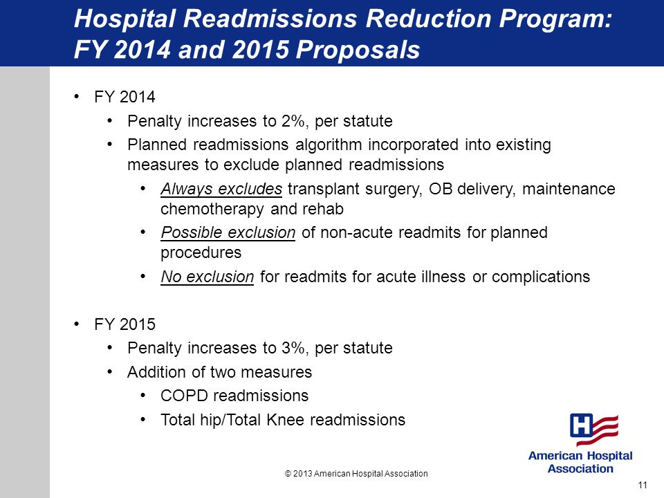 Hospital Readmissions Reduction Program: FY 2014 and 2015 Proposals