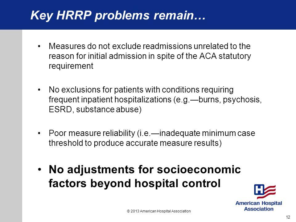 Key HRRP problems remain…