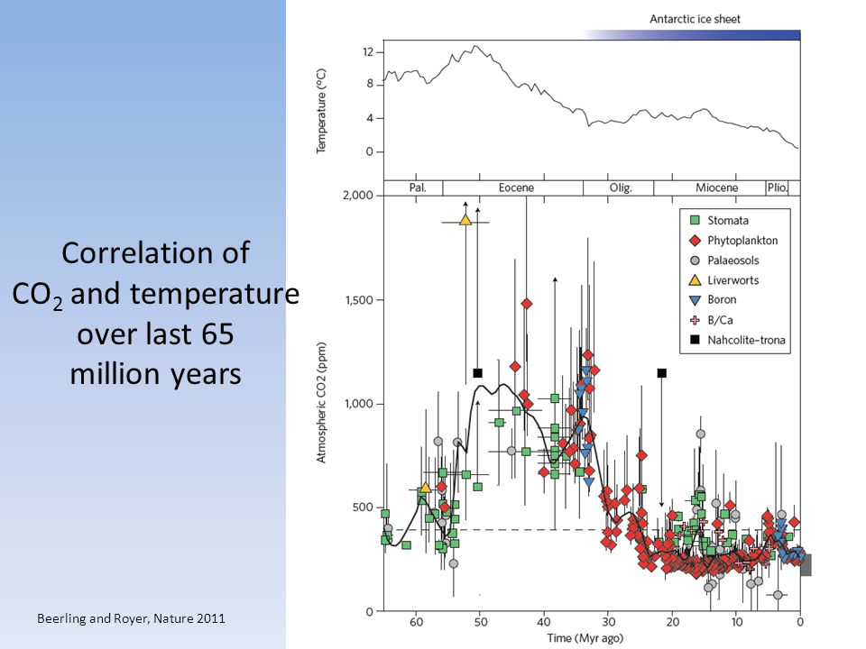Correlation of CO2 and temperature over last 65 million years