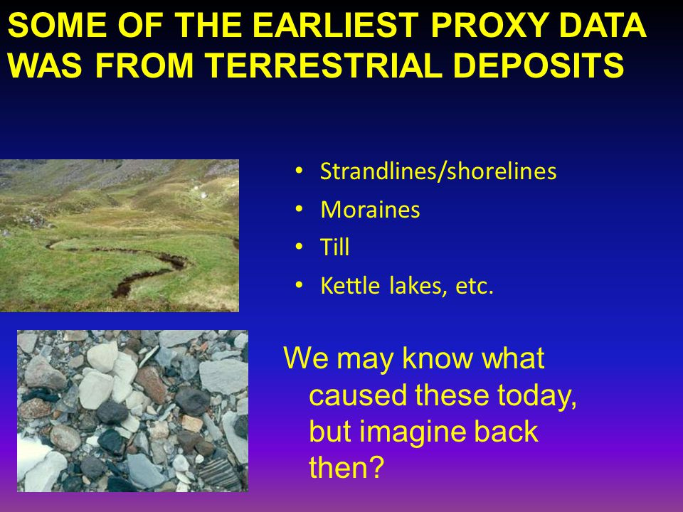SOME OF THE EARLIEST PROXY DATA WAS FROM TERRESTRIAL DEPOSITS