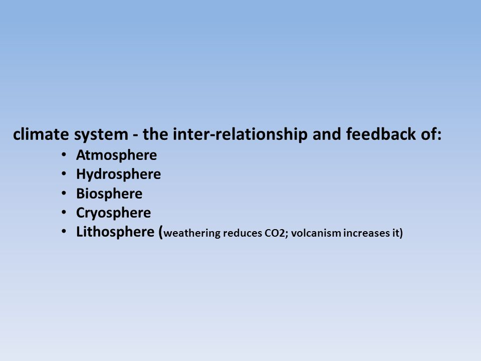 climate system - the inter-relationship and feedback of: