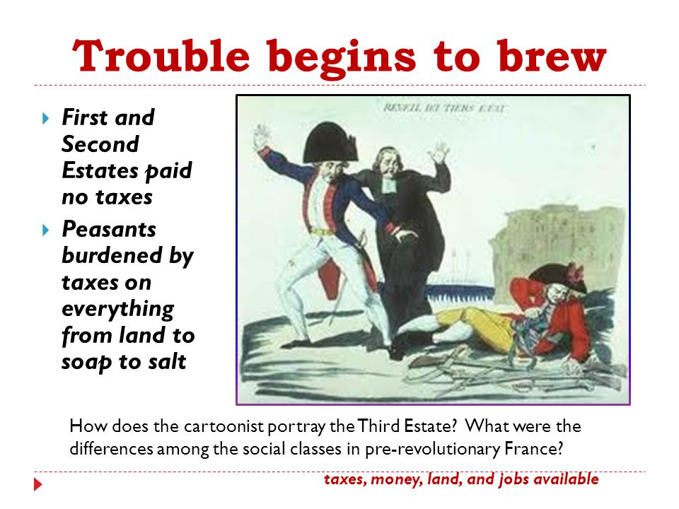 Trouble begins to brew First and Second Estates paid no taxes