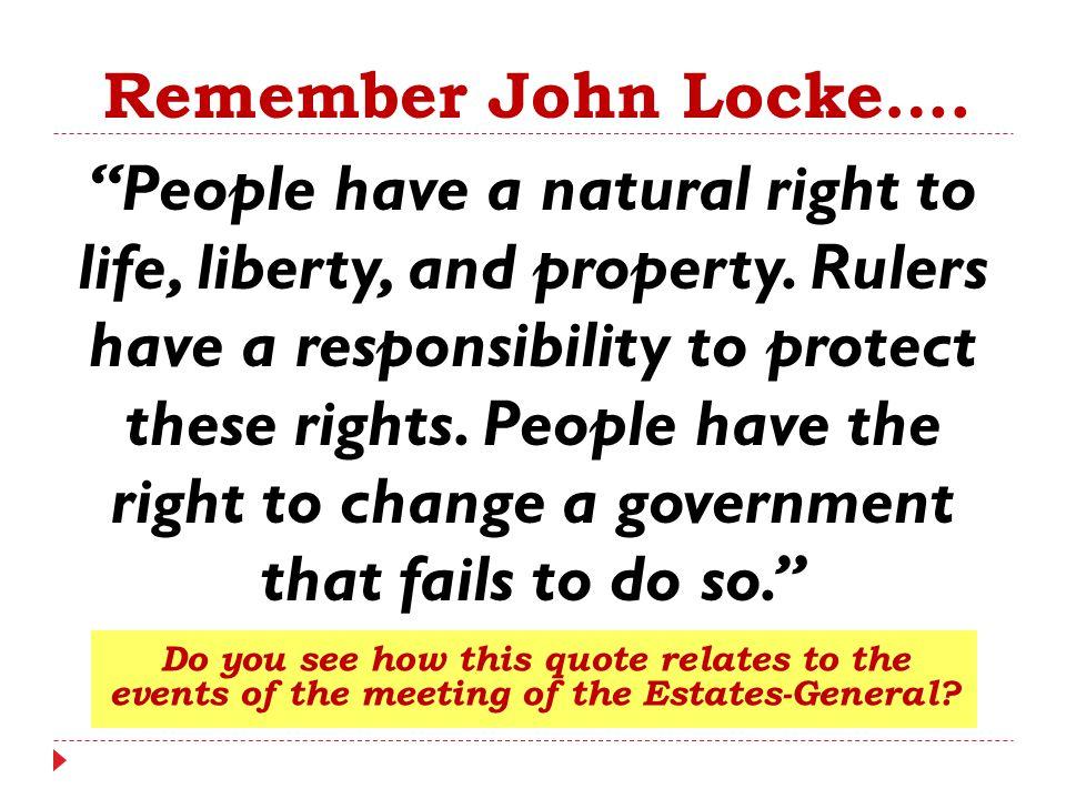 Remember John Locke….