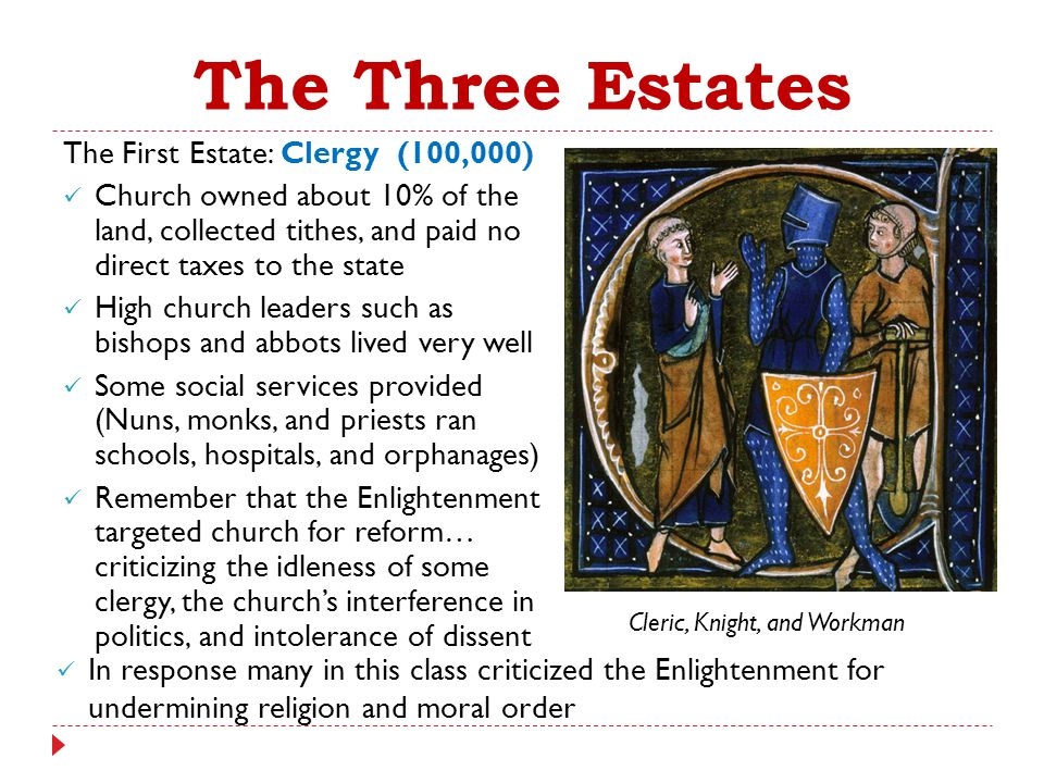 The Three Estates The First Estate: Clergy (100,000)