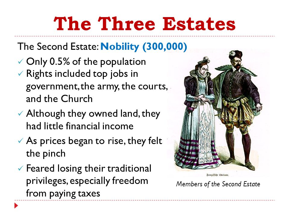 The Three Estates The Second Estate: Nobility (300,000)