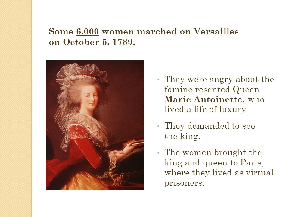 Some 6,000 women marched on Versailles on October 5, 1789.