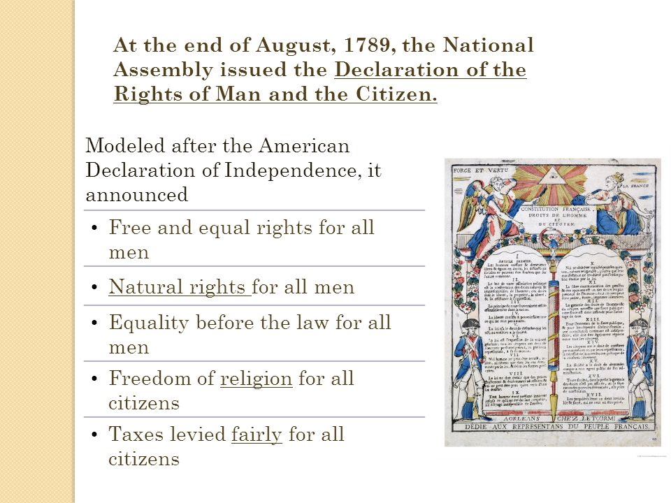 At the end of August, 1789, the National Assembly issued the Declaration of the Rights of Man and the Citizen.