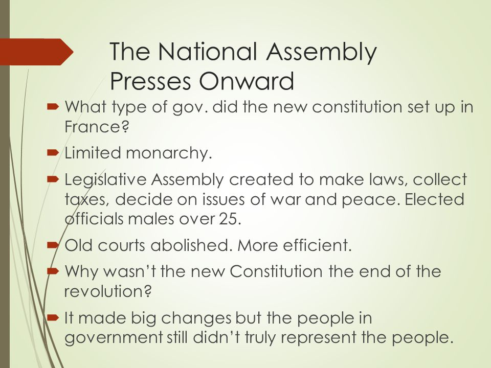 The National Assembly Presses Onward