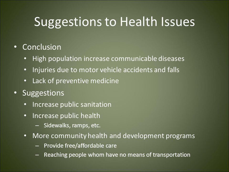 Suggestions to Health Issues