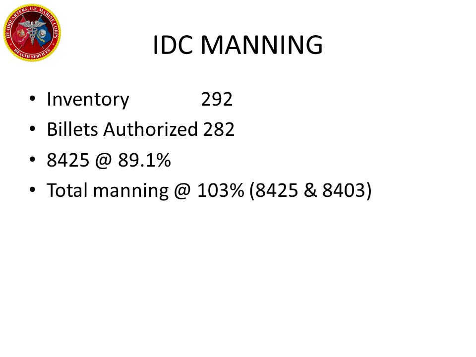 IDC MANNING Inventory 292 Billets Authorized 282 8425 @ 89.1%