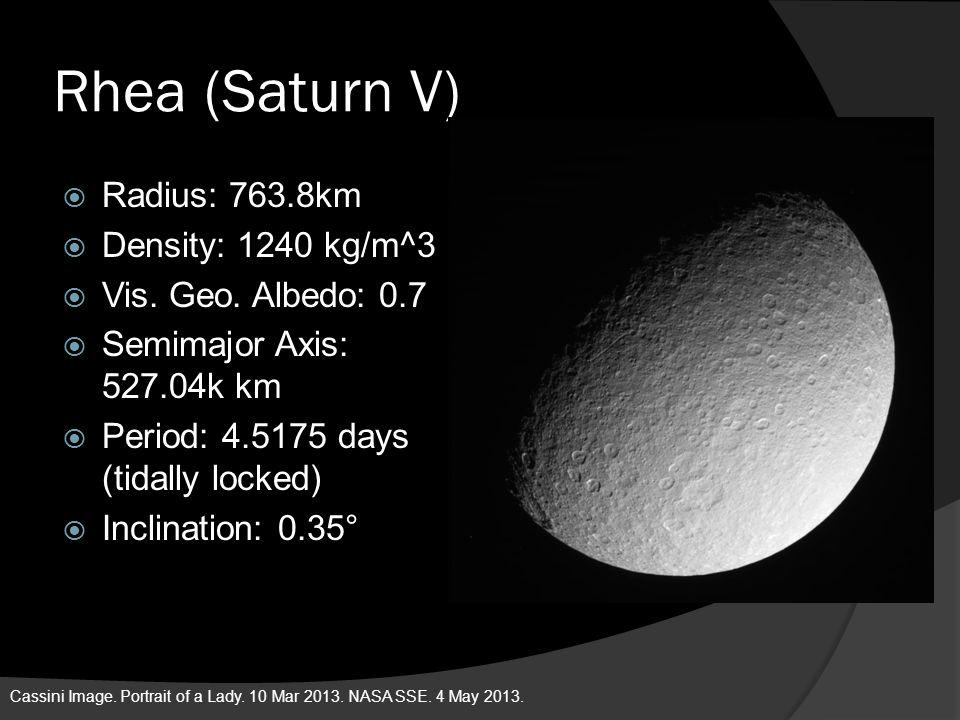 Rhea (Saturn V) Radius: 763.8km Density: 1240 kg/m^3