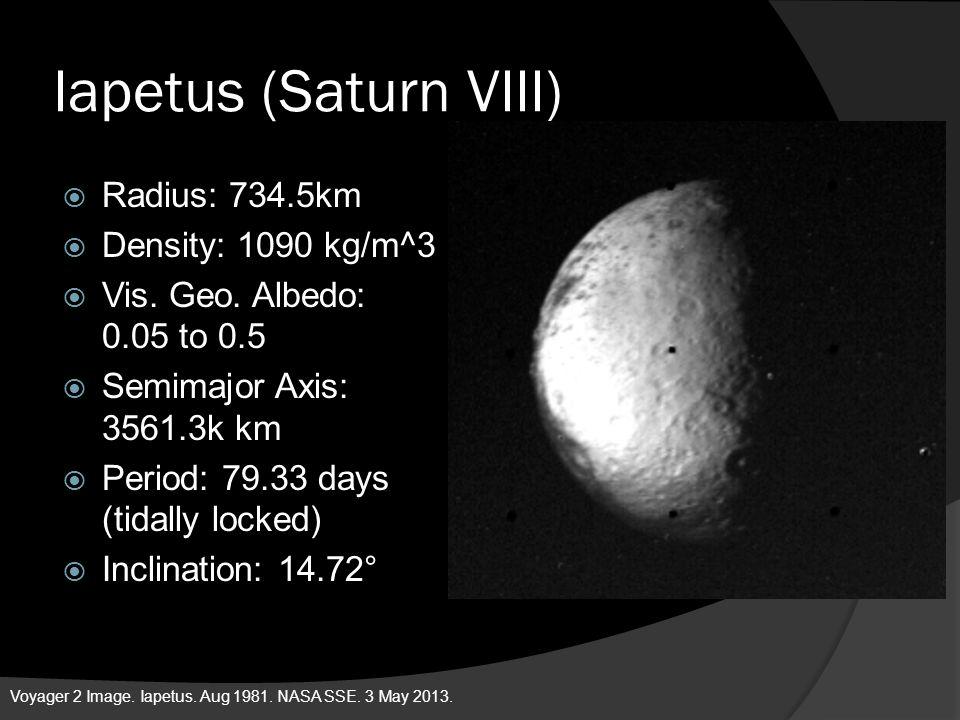Iapetus (Saturn VIII) Radius: 734.5km Density: 1090 kg/m^3