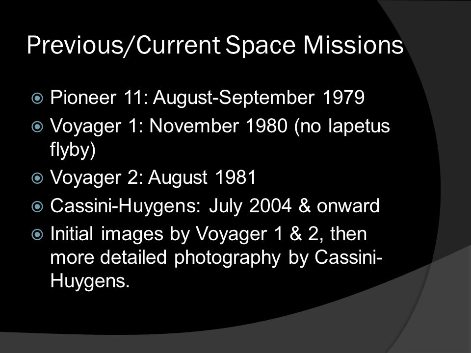 Previous/Current Space Missions