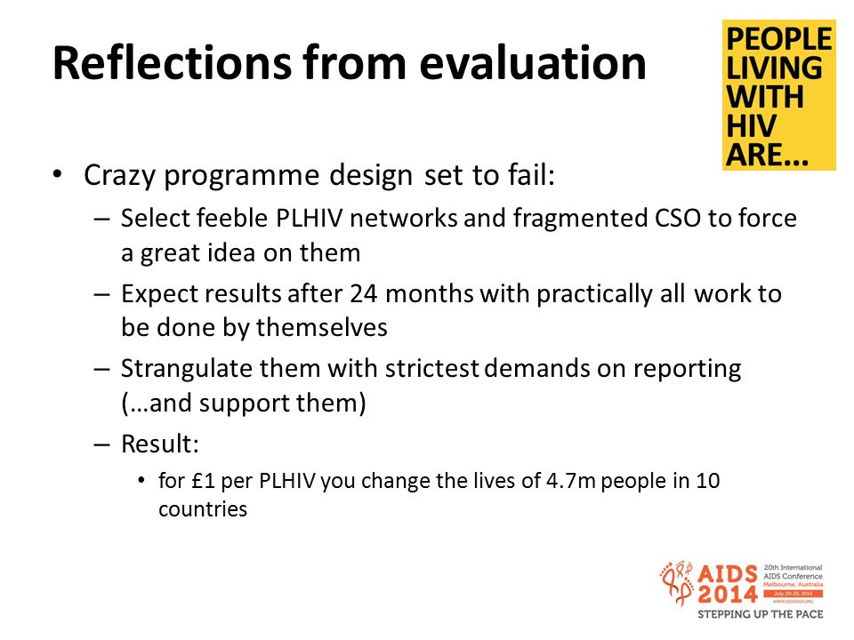 Reflections from evaluation