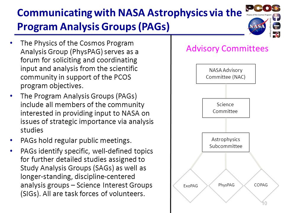 PhysPAG and SIGs PhysPAG has five SIGs in operation for the Inflation Probe, Gamma Rays, Cosmic Rays, Gravitational Waves and X-rays.