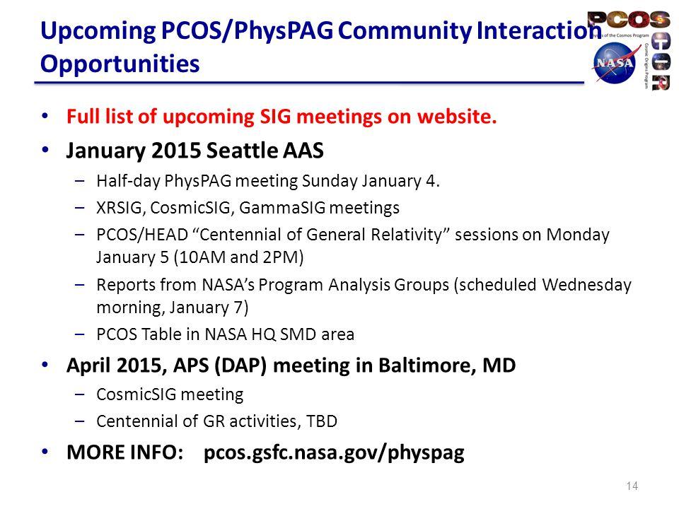 THANK YOU Ann.Hornschemeier@nasa.gov pcos.gsfc.nasa.gov (Sign up for email list at PCOS News and Announcements tab)