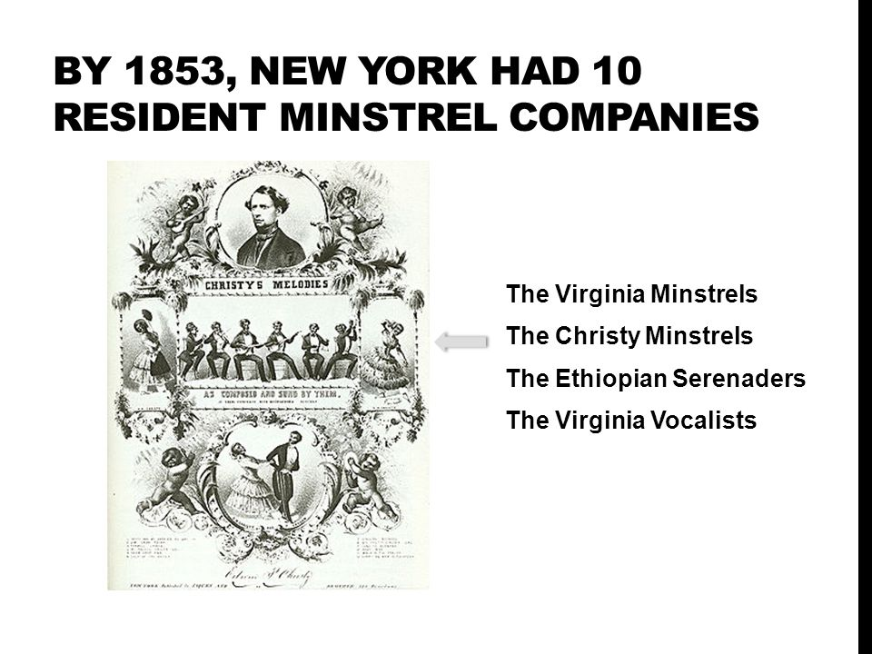 BY 1853, new york had 10 resident minstrel companies