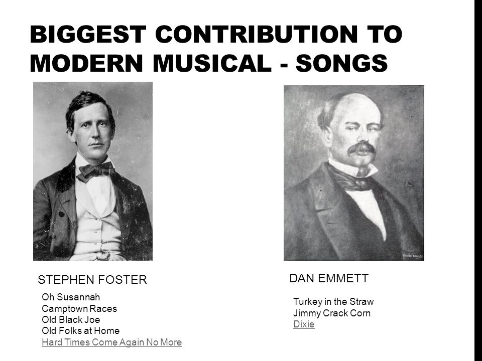 BIGGEST CONTRIBUTION TO MODERN MUSICAL - SONGS