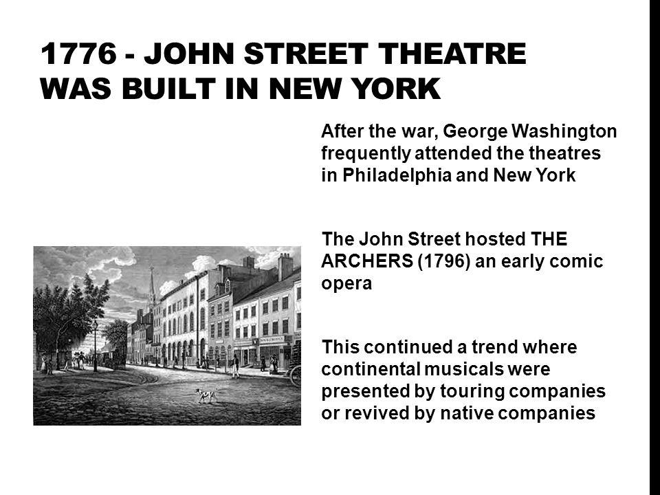 1776 - John street theatre was built in New YORK