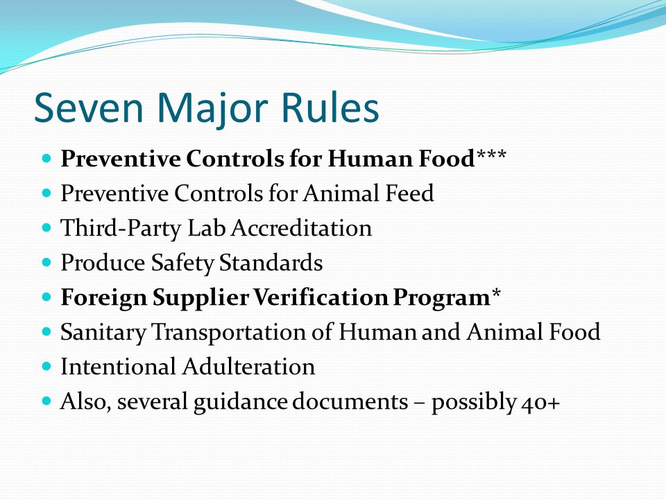 Seven Major Rules Preventive Controls for Human Food***