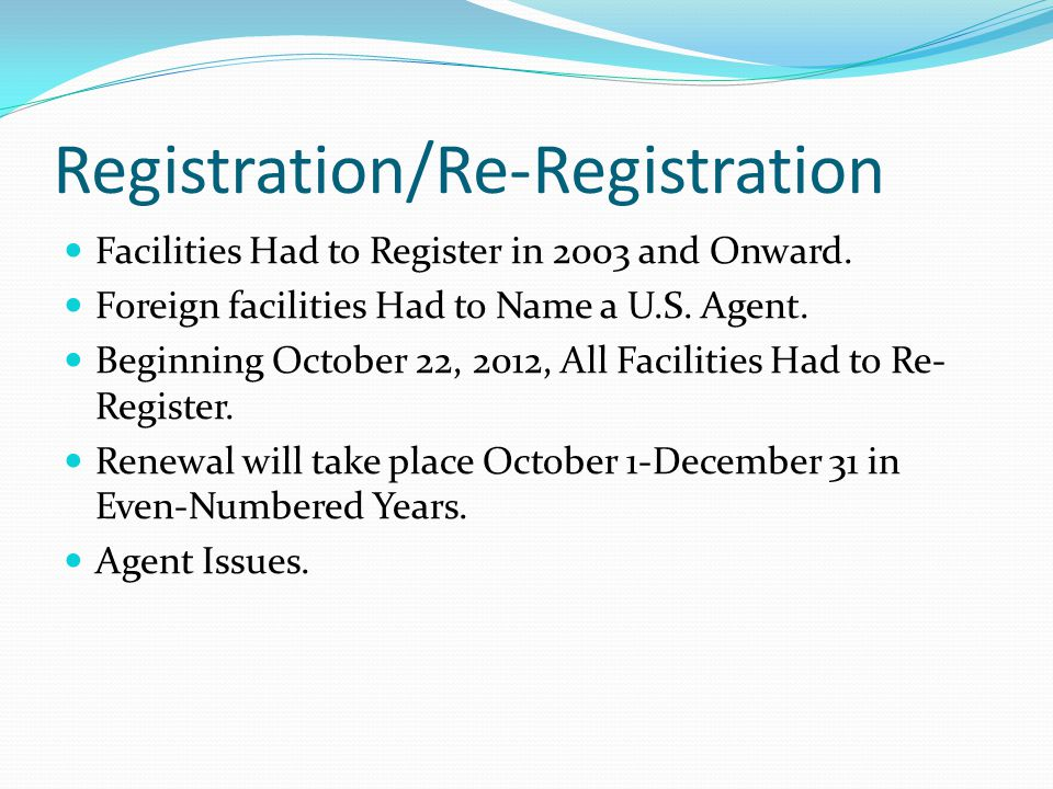 Registration/Re-Registration