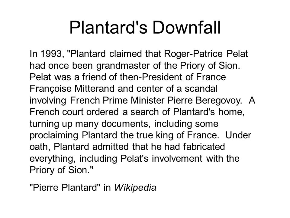 Plantard s Downfall