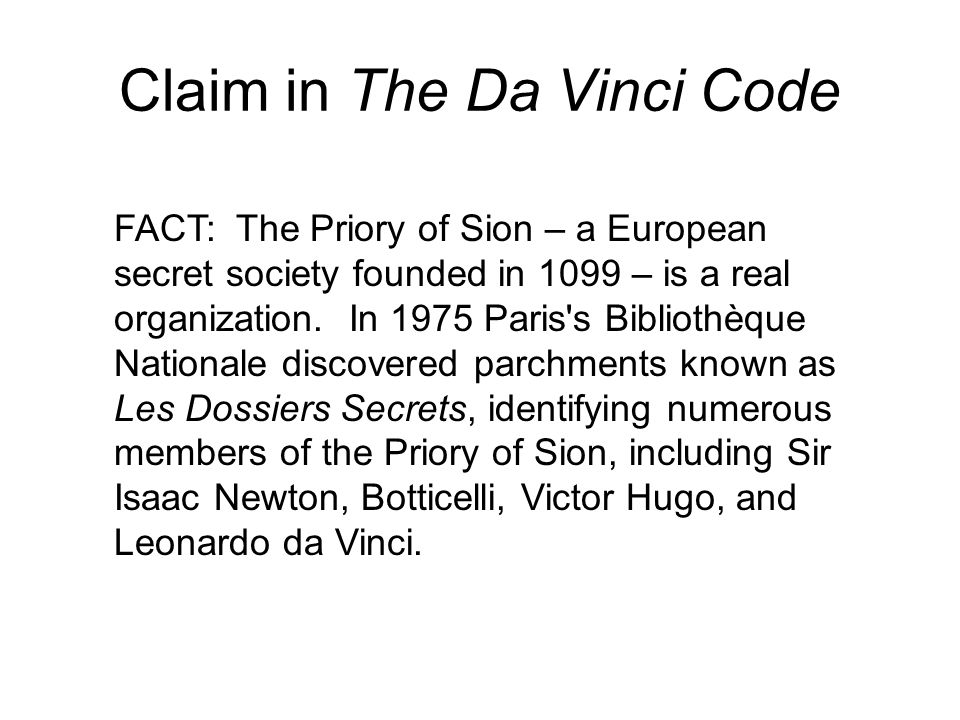 Claim in The Da Vinci Code