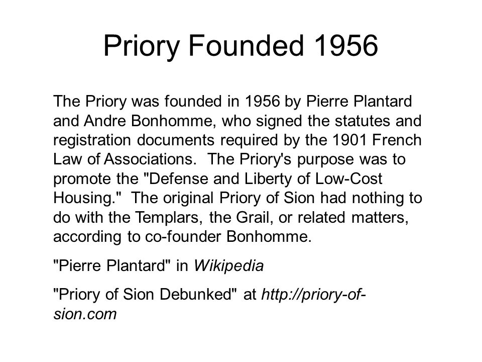 Priory Founded 1956
