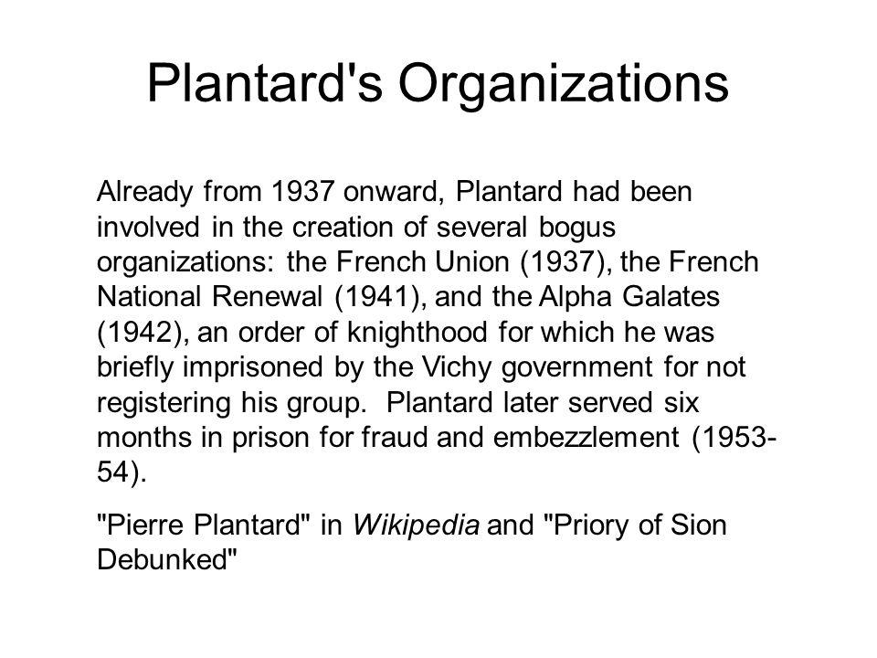 Plantard s Organizations