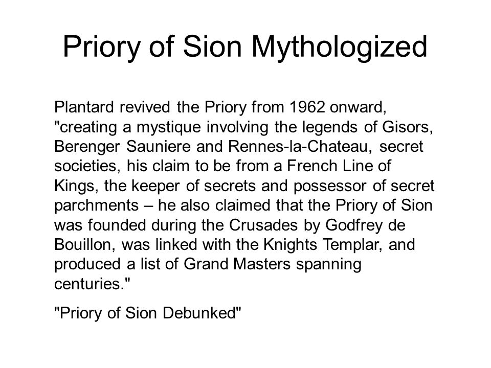 Priory of Sion Mythologized