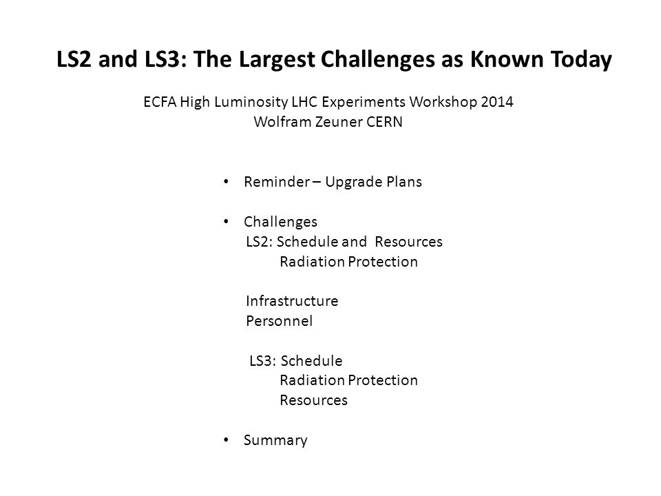 ECFA High Luminosity LHC Experiments Workshop 2014