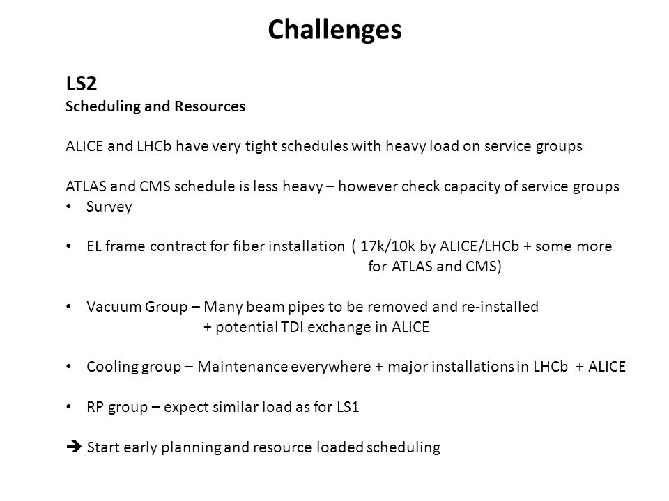 Challenges LS2 Scheduling and Resources