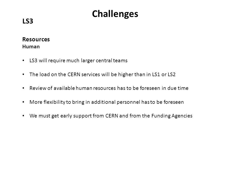 Challenges LS3 Resources Human