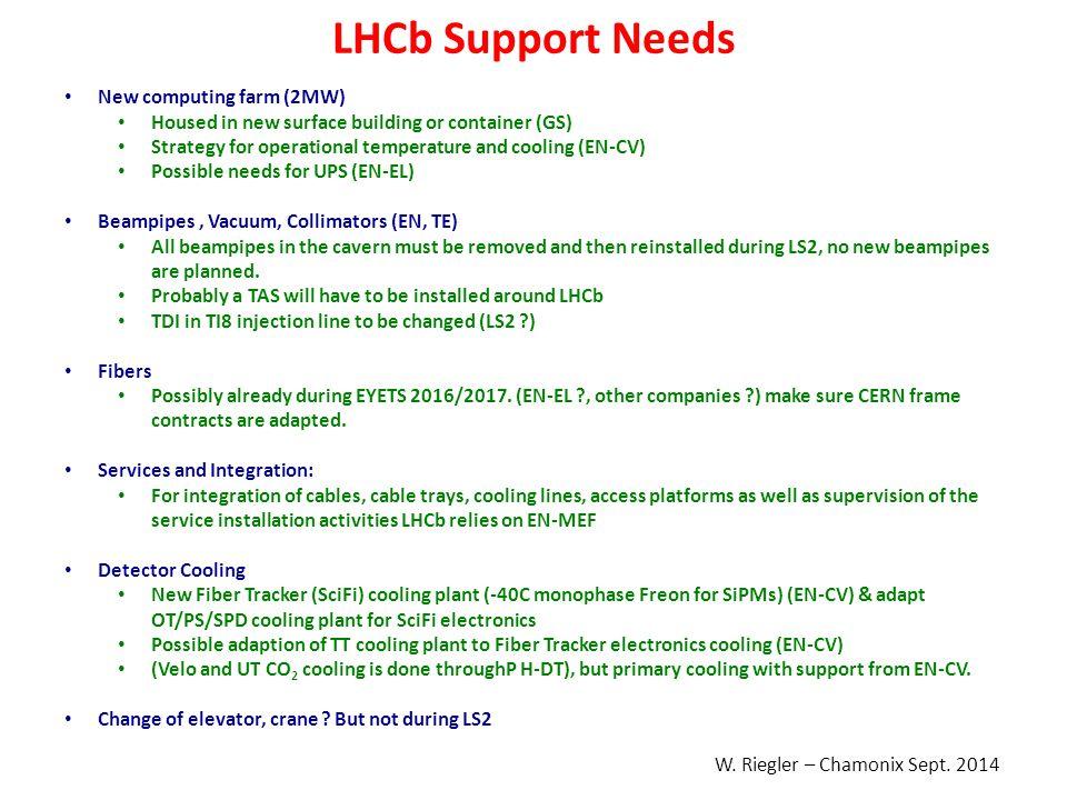 LHCb Support Needs New computing farm (2MW)
