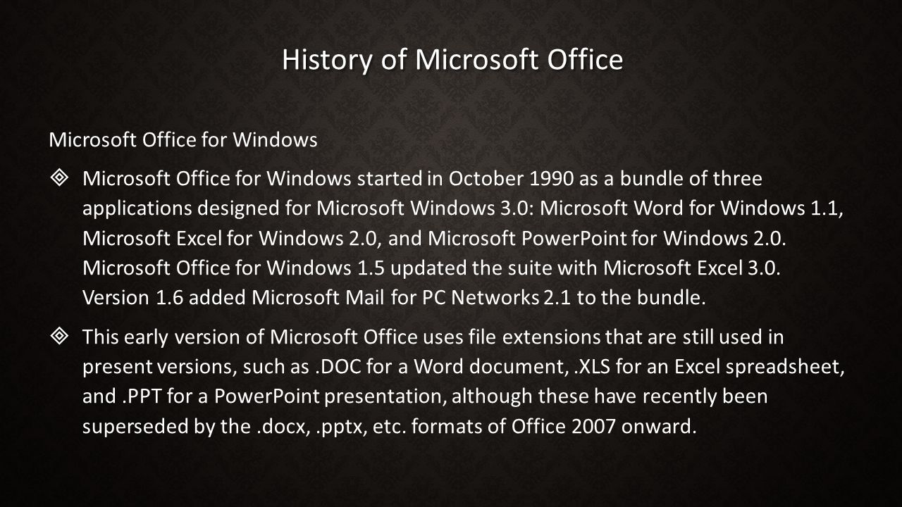 History of Microsoft Office