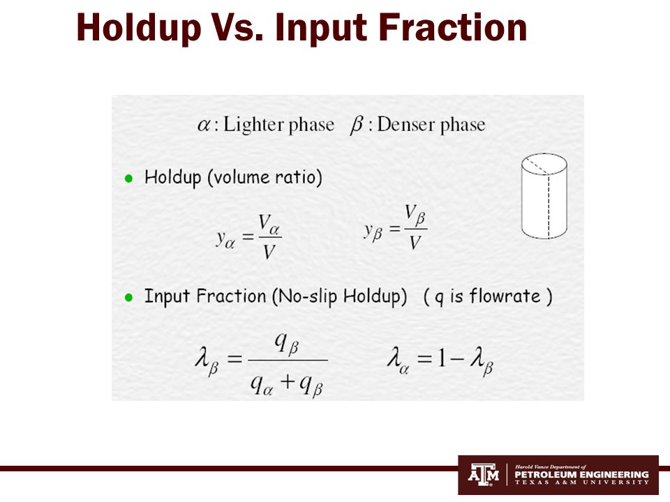 Holdup Vs. Input Fraction