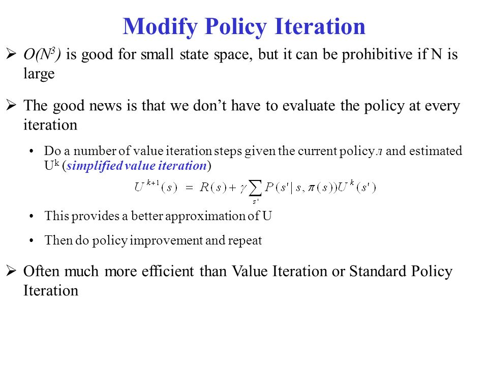 Modify Policy Iteration